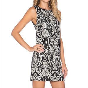 Alice +Olivia Clyde Jacquard A-Line Black Dress 10